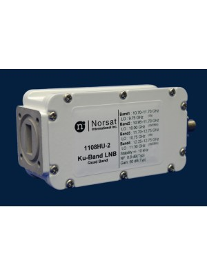 LNB, Ku-Band, PLL, Quad-Band, 10.70 - 12.75 GHz, L.O. Stability +/- 025 KHz, Noise Figure 0.8 dB, F-Connector